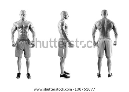B&W Three photos of a muscular man on a white background - stock photo