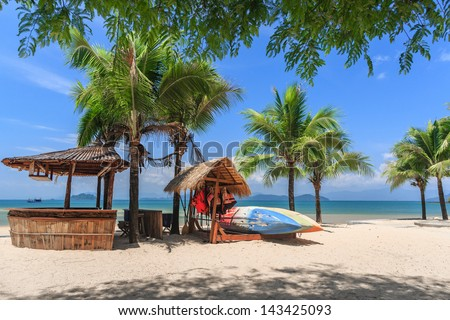 Baboo bar on white snad beach at tropical island, Koh Payam, Thailand - stock photo