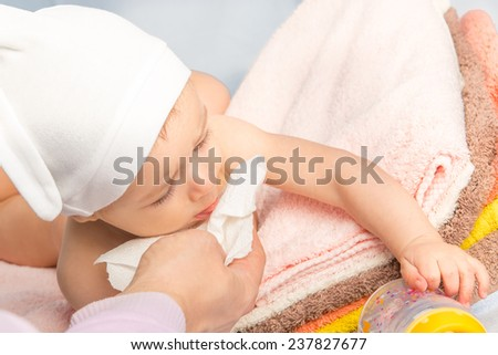 baby and father hand - stock photo