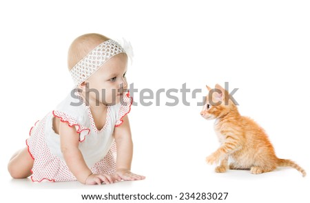 baby and kitten on a white background - stock photo