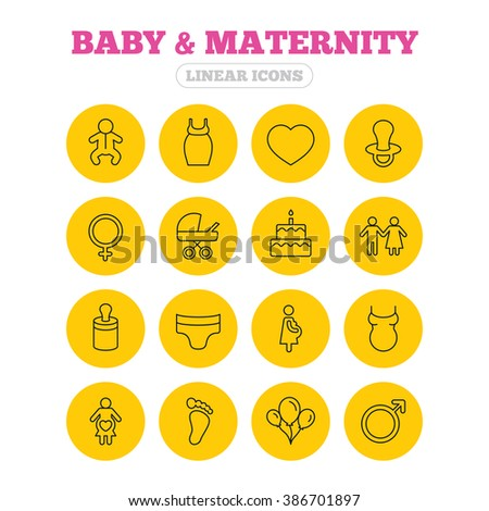 Baby and Maternity icons. Toddler, diapers and child footprint symbols. Heart, birthday cake and pacifier thin outline signs. Pregnant woman, couple and air balloons. Linear icons on yellow buttons. - stock photo