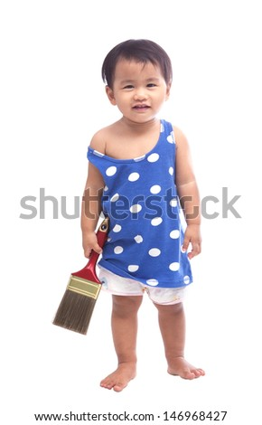 baby and painting brush in hand isolated white  - stock photo