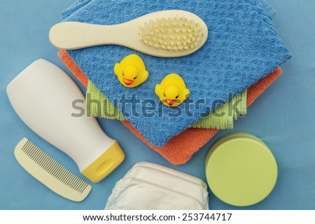 Baby bath accessories - stock photo