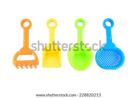 Baby beach sand toys Isolated on white background - stock photo