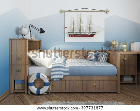 Baby bed for a young teenager in a ship style with a lifeline and nautical d�©cor. Modern interior of a child's room in a nautical theme. 3D render. - stock photo