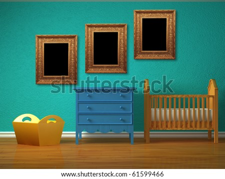 Baby bedroom with a crib and picture frames. - stock photo