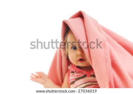 baby blanket isolated one happy - stock photo