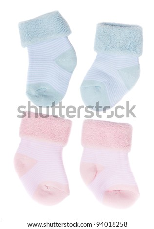 baby blue and pink socks - stock photo