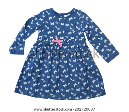 Baby blue dress with a pattern of butterflies. Isolate on white. - stock photo