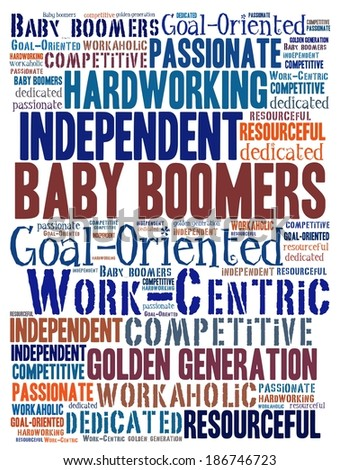 Baby boomers in word collage - stock photo