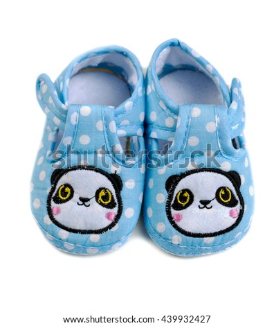 Baby booties blue. Isolate on white. - stock photo