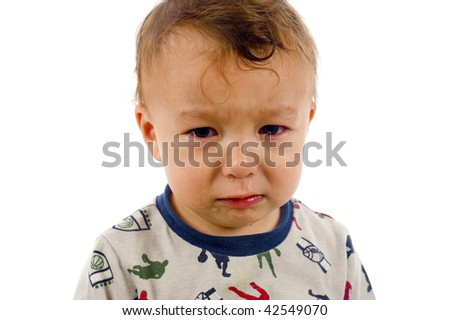 Baby Boy has Stopped Crying, But Not for Long.. - Isolated over a white background - stock photo
