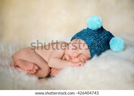 Baby boy is sleeping - stock photo