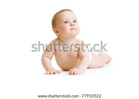 Baby boy isolated lying - stock photo