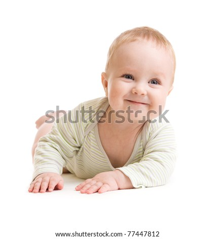 Baby boy isolated lying  smilingly - stock photo