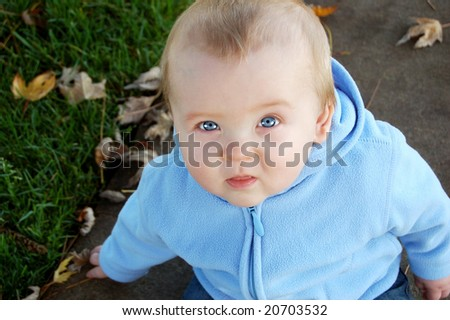 Baby Boy Outside - stock photo