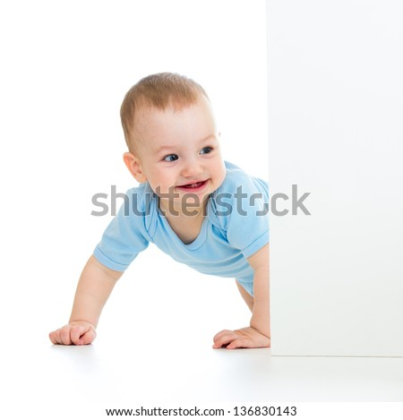 baby boy peeking out poster - stock photo