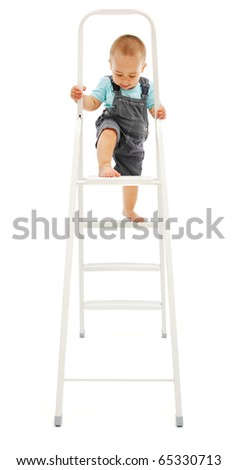 Baby boy's dangerous play: climbing up on white metallic ladder - stock photo