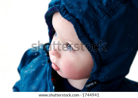 Baby Boy with winter coat: isolated - stock photo