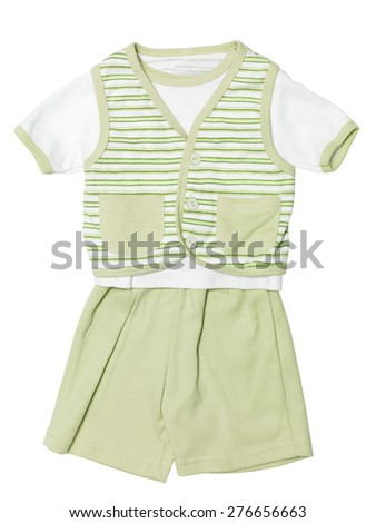 Baby boys green striped outfit, shirt, vest and shorts, clothing set isolated on white background with clipping path - stock photo