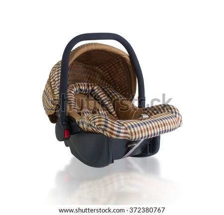 Baby car seat isolated on white background - stock photo