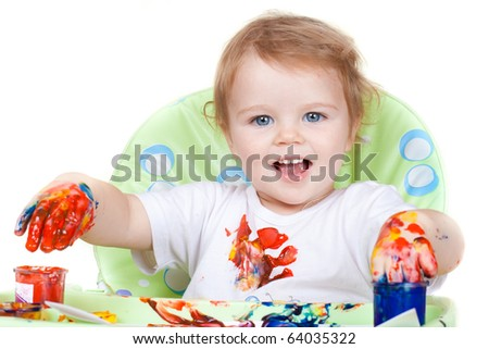 baby child creates art picture with paints as artist (#3 from series) - stock photo