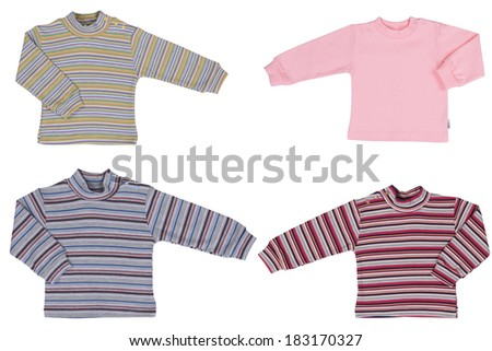 Baby clothes, wear isolated on white background - stock photo