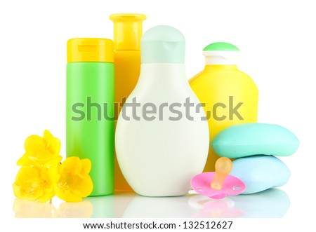 Baby cosmetics and soap, isolated on white - stock photo