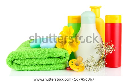 Baby cosmetics, towels and soap, isolated on white - stock photo