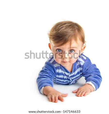 Baby crawling - stock photo