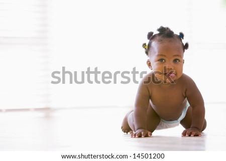 Baby crawling indoors - stock photo