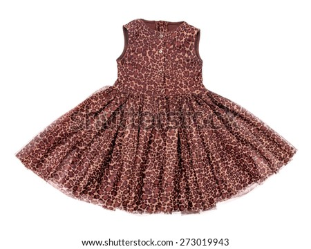 baby dress with leopard print on an isolated white background - stock photo