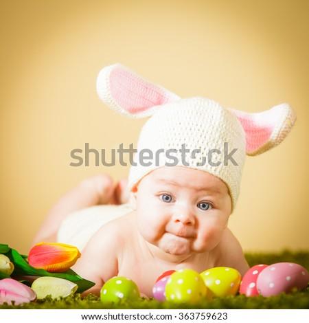 Baby Easter bunny - stock photo