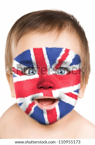 Baby face close-up, painted in the style of an English flag. - stock photo
