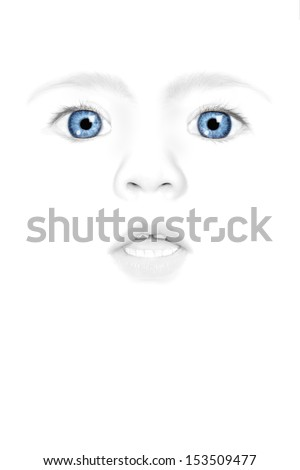 Baby face isolated on white - stock photo