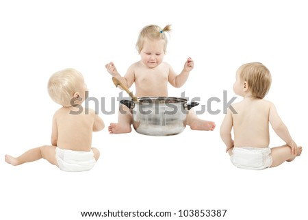 Baby feeding friends and playing role game over white - stock photo
