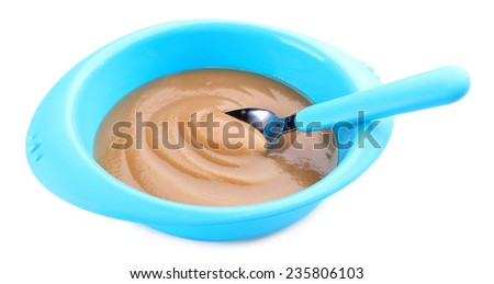 Baby food in bowl isolated on white - stock photo