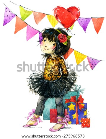 baby girl and birthday holiday background for kids congratulations. watercolor illustration - stock photo