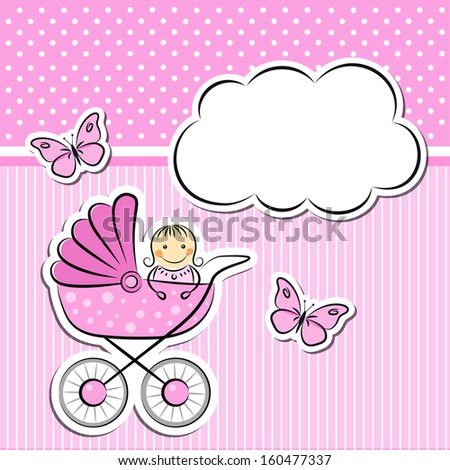 Baby girl arrival announcement - stock photo