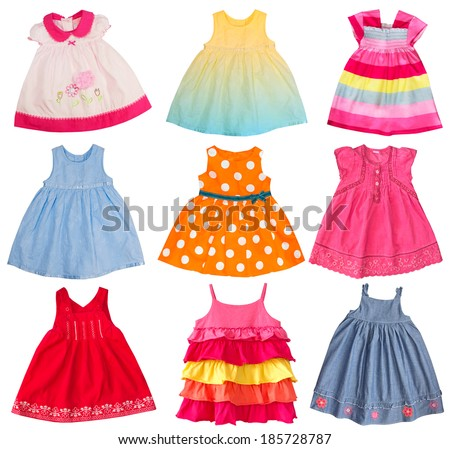 Baby girl dresses collage. Kid dress isolated on white. - stock photo