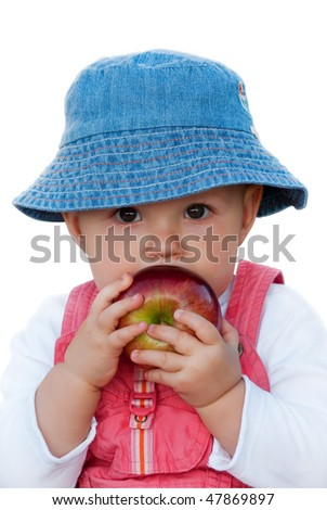 Baby girl holding big red apple. Isolated on white, clipping hath included, close up - stock photo