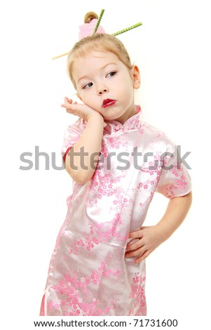 Baby girl in japanese dress - stock photo