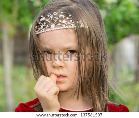 baby girl in the garden - stock photo