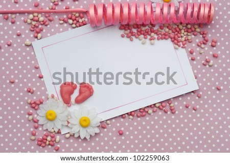 baby girl invitation card background - stock photo
