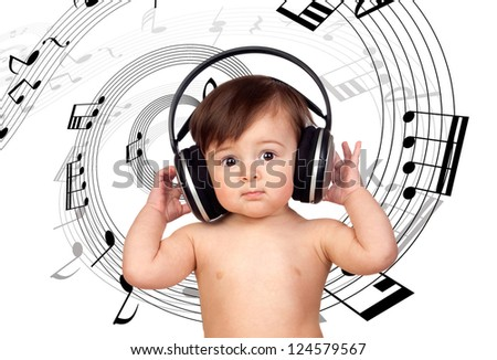 Baby girl listening music and surrounded with a spiral of musical notes - stock photo