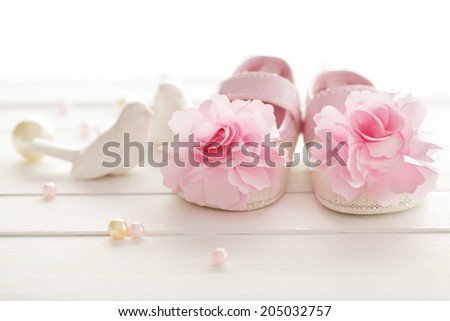 baby girl shoes - stock photo