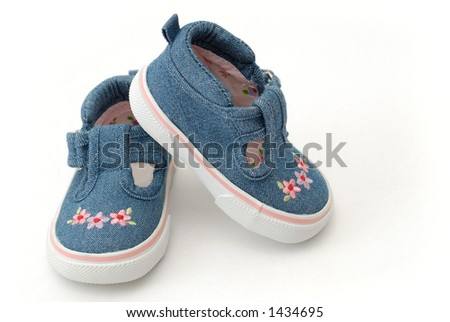 Baby Girl Shoes with Pink Flowers on White Background - stock photo
