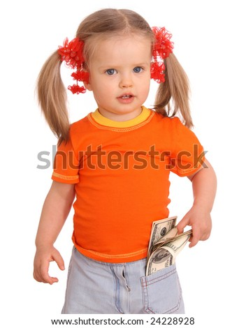 Baby girl with dollar banknote. Isolated. - stock photo