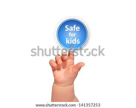 Baby hand pressing safe for kids button. - stock photo