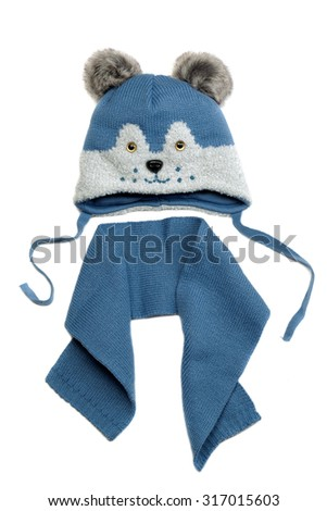 Baby hat and scarf set. Isolate on white. - stock photo